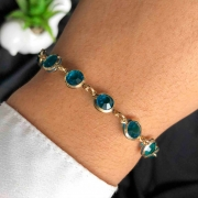 Pulseira Semijoia Com Detalhes Redondos No Azul Capri Cristal Folheada A Ouro 18k