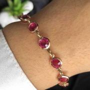 Pulseira Semijoia Com Detalhes Redondos No Rosa Cristal Folheada A Ouro 18k