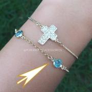 Pulseira Semijoia Com Pedras Azul Claro Transparente Folheada A Ouro 18k