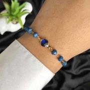 Pulseira Semijoia Com Pedras E Cristal Azul Escuro Com Extensor Folheada A Ouro 18k