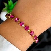 Pulseira Semijoia Com Pedras Em Cristal Pink E Fecho Extensor Folheada A Ouro 18k