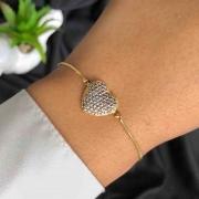 Pulseira Semijoia Com Pingente De Coração Cravejado Em Ródio Branco Folheada A Ouro 18k