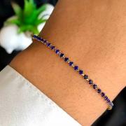 Pulseira Semijoia Fio De Zircônia Azul Escura Folheada a Ouro 18K