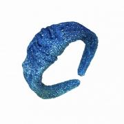 Tiara Com Nó Estilo Turbante Brilhosa Azul