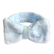 Tiara de Pelúcia Azul Claro com Laço e Aplicação de Renda