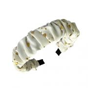 Tiara Estampada com Corações Dourados - Branca
