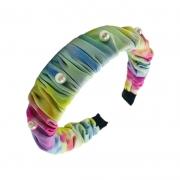 Tiara Tie Dye Com Aplicações Em Pérolas 01