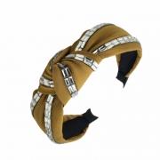 Tiara Turbante Nó Amarela Com Aplicações De Strass Em Tijolinho