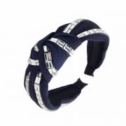 Tiara Turbante Nó Azul Marinho Com Aplicações De Strass Em Tijolinho