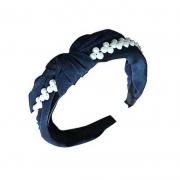 Tiara Turbante Nó Em Tecido Azul Escuro Com Faixa De Aplicações Em Pérolas