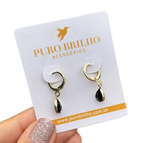 Brinco Argola com Pingente Gota de Cristal Preto Folheado em Ouro 18K