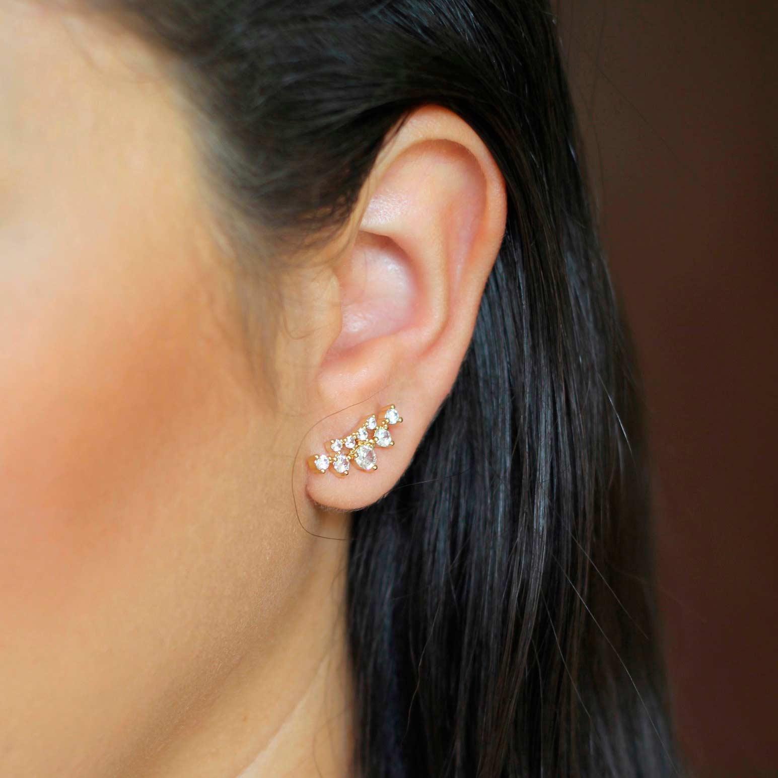 Brinco Ear Cuff Gotas em Zircônias Folheado a Ouro 18K