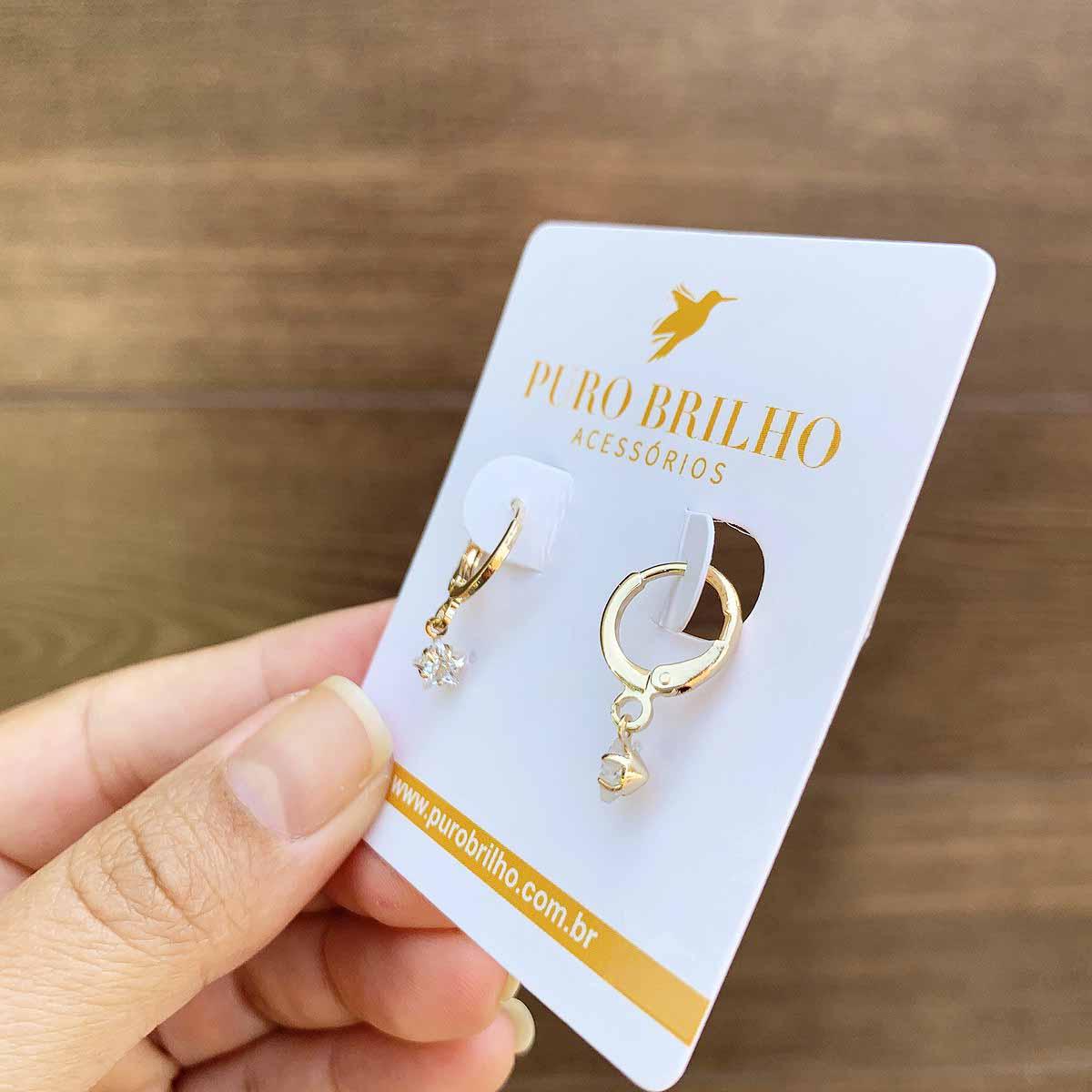 Brinco Argola Pequena com Pingente Estrela em Zircônia Folheado a Ouro 18K