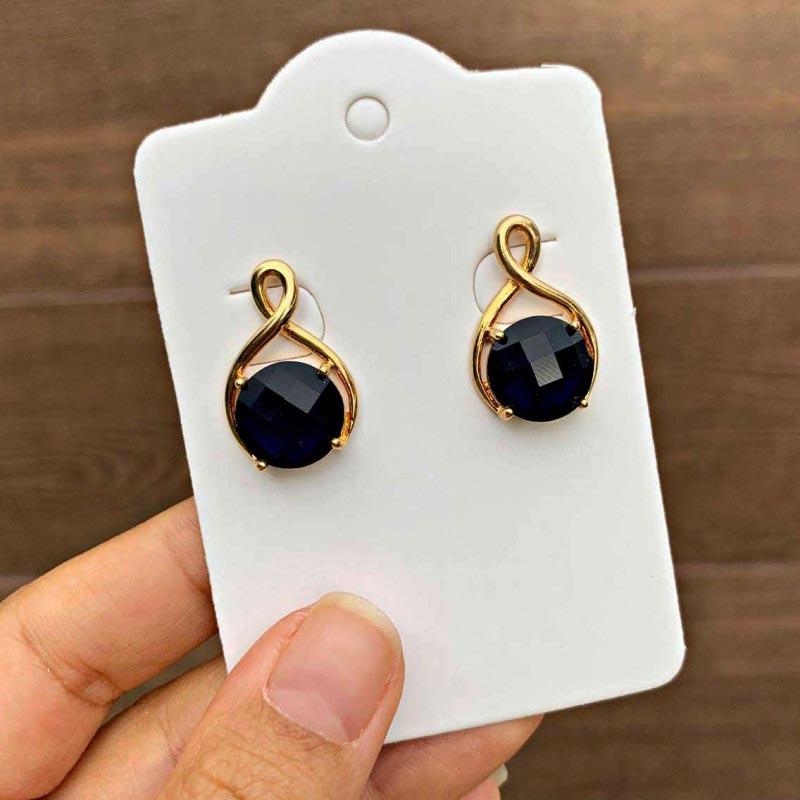 Brinco Semijoia Com Pedra Cristal Azul Escuro Folheado A Ouro 18k