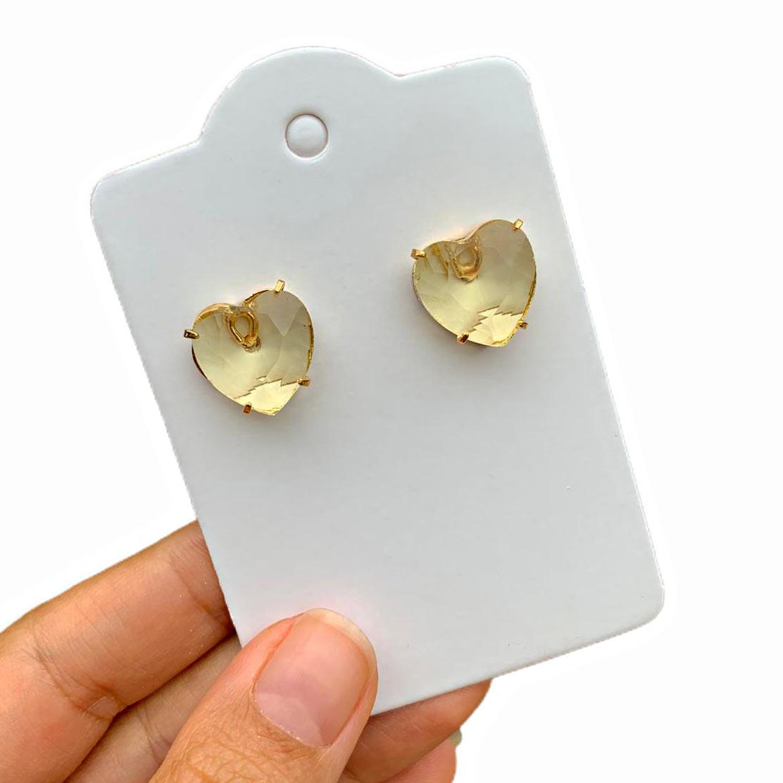 Brinco Semijoia Coração Cristal Amarelo Folheado a Ouro 18K