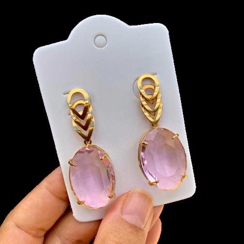 Brinco Semijoia Cristal Rosa Folheado a Ouro 18K