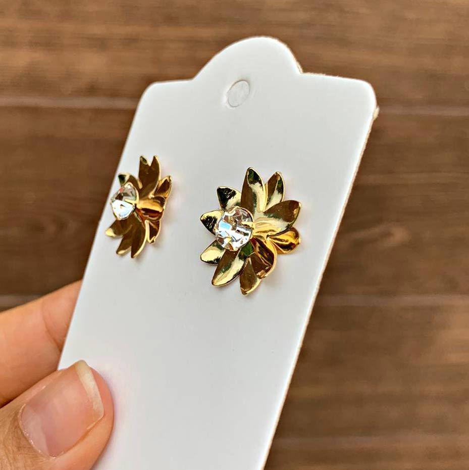 Brinco Semijoia Flor com Cristal Folheado a Ouro 18K