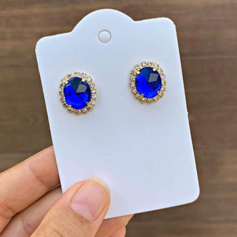 Brinco Semijoia Oval Azul Marinho Com Aplicações Em Cristais Folheado A Ouro 18k