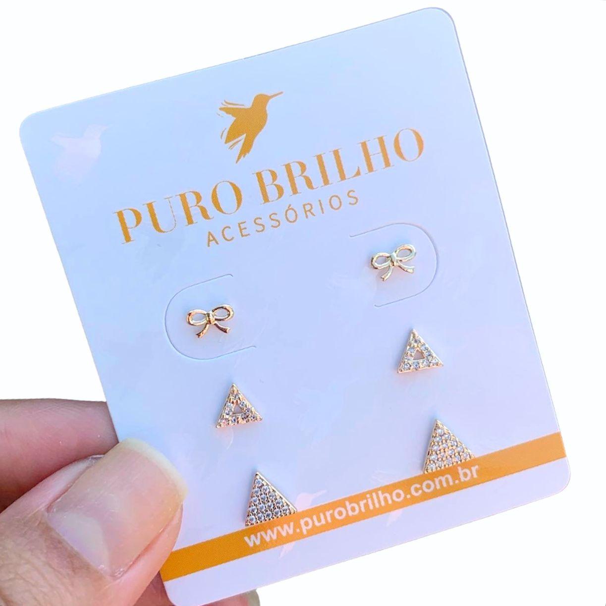 BRINCOS SEMIJOIA TRIO DO AMOR FOLHEADOS A OURO 18K 05