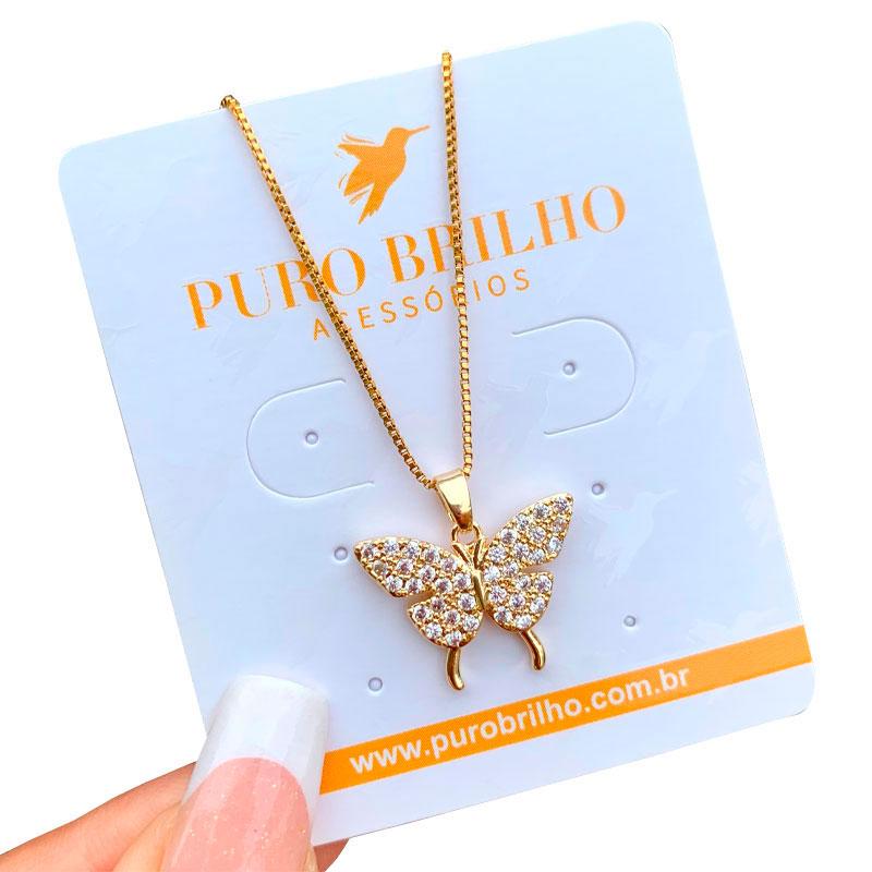 Colar Pingente Borboleta Papilio Cravejado em Zircônias Folheado a Ouro 18K