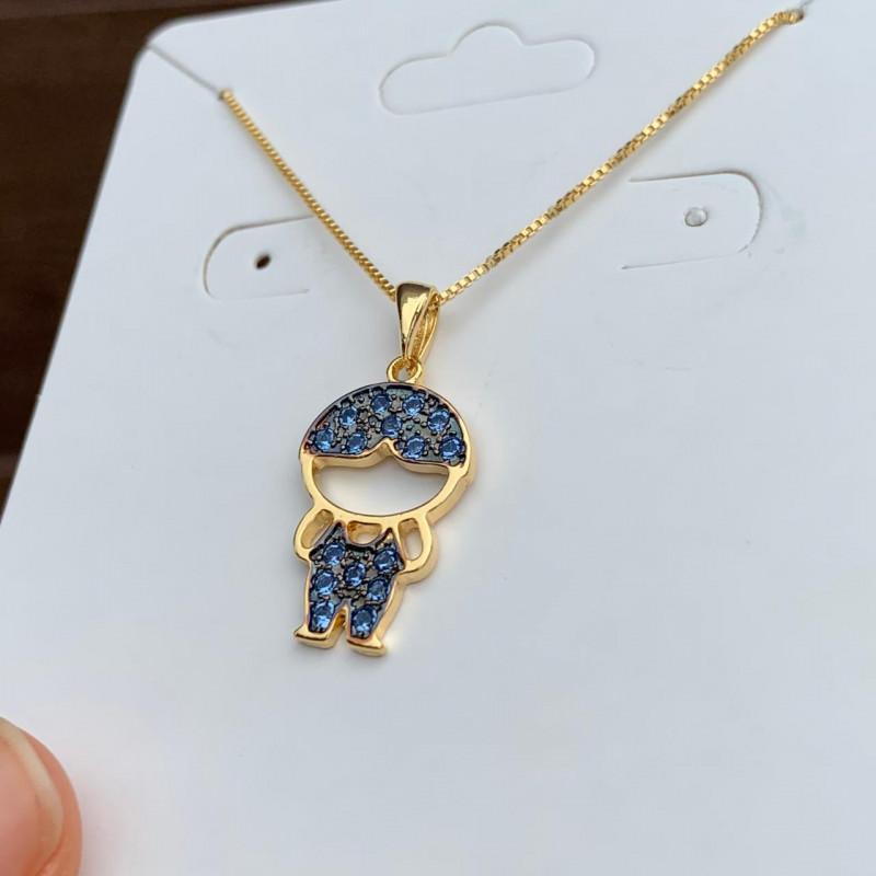 Colar Semijoia Menino Com Aplicações De Micro Zircônias Em Cor Cristal Azul Folheado A Ouro 18k