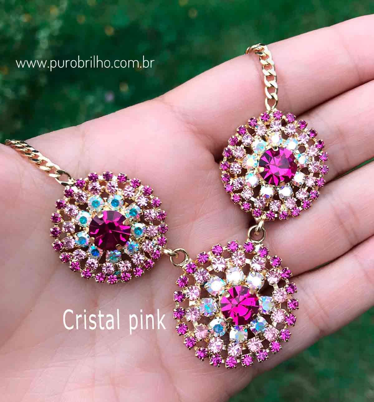 COLAR SEMIJOIA PINGENTE 3 EM 1 COM APLICAÇÃO EM CRISTAIS CORES DIVERSAS-Cristal Pink