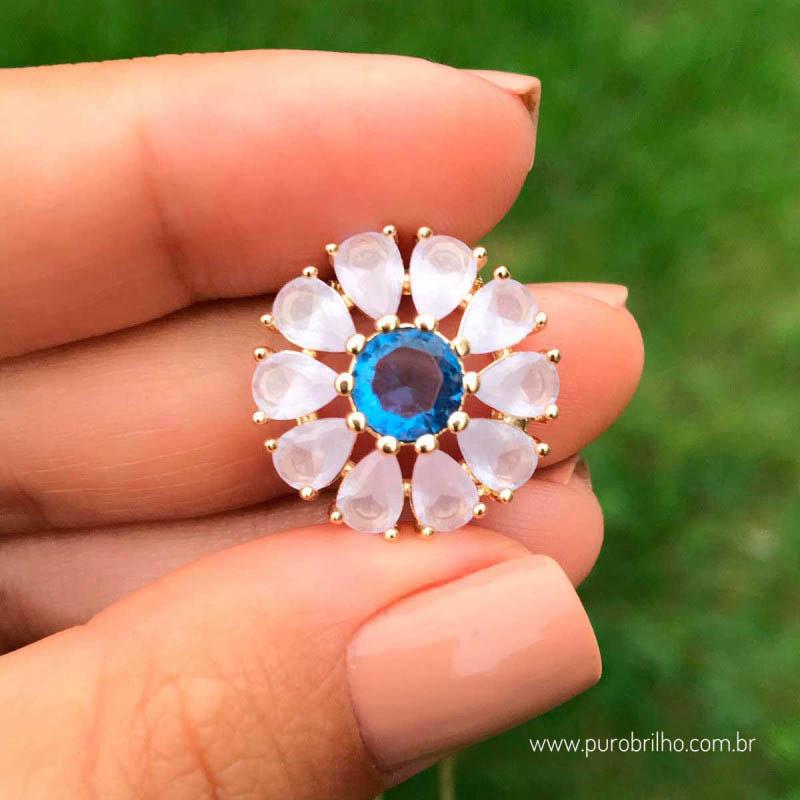 Colar Semijoia Pingente Flor Com Pedras Em Zircônias