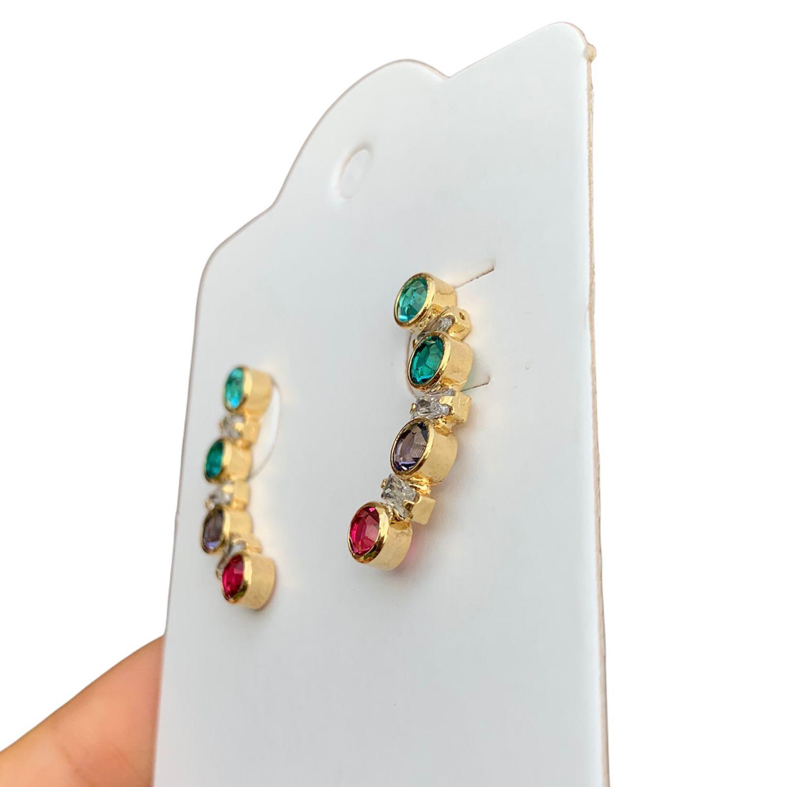 Ear Cuff Semijoia com Zircônias Coloridas Folheado a Ouro 18k