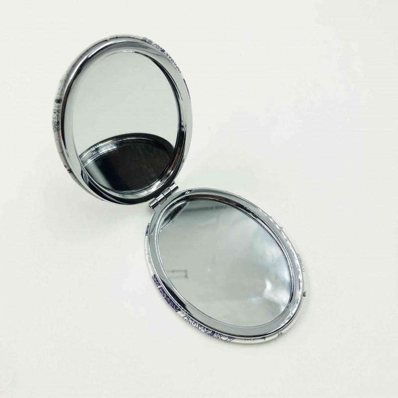 Espelho Duplo De Bolsa Formato Oval Tema Borboleta 02