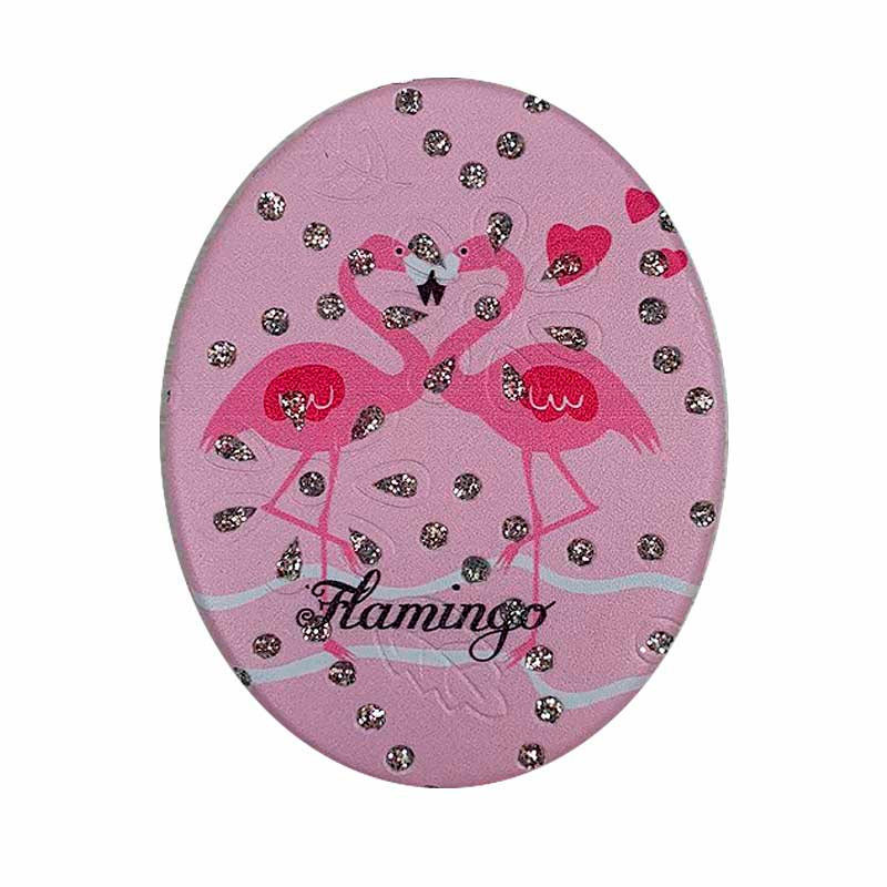 Espelho Duplo De Bolsa Formato Oval Tema Flamingo