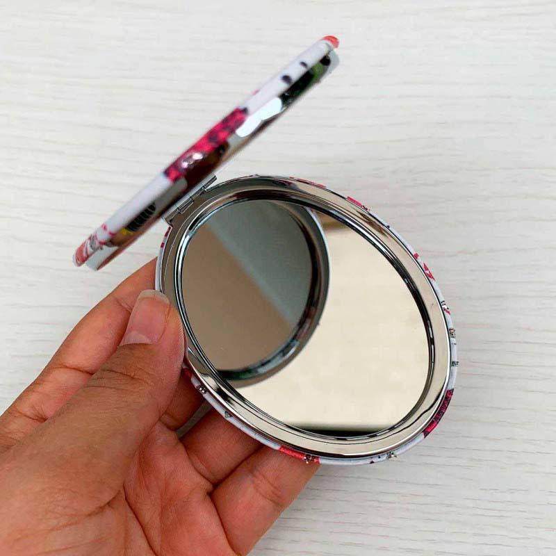 Espelho Duplo De Bolsa Formato Oval Tema Love