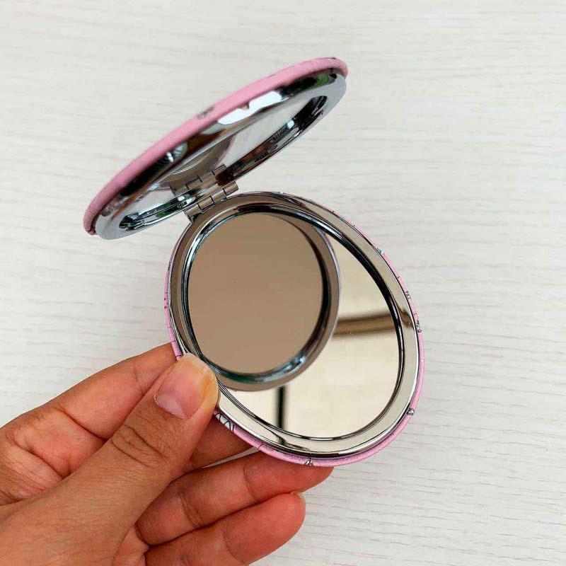 Espelho Duplo De Bolsa Formato Oval Tema Unicórnio