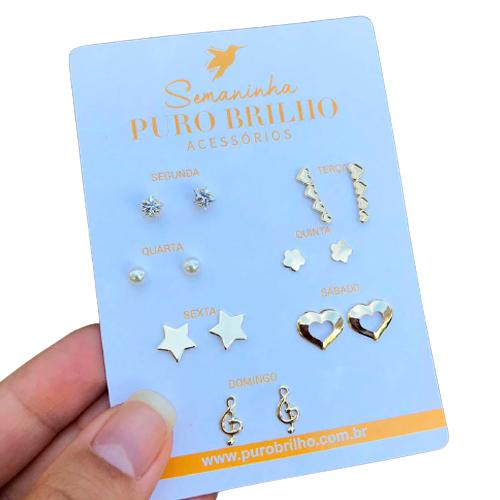 Kit de sete brincos variados folheados em ouro 18k - 05