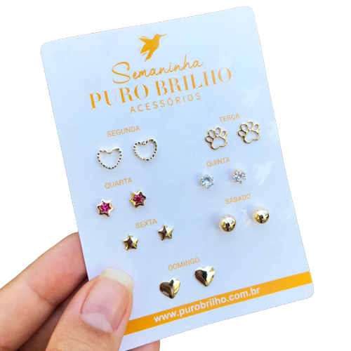 Kit de sete brincos variados folheados em ouro 18k - 03