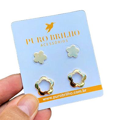 Kit Dueto de Brincos Flor lisa e Flor Vazada Folheado em Ouro 18k 05