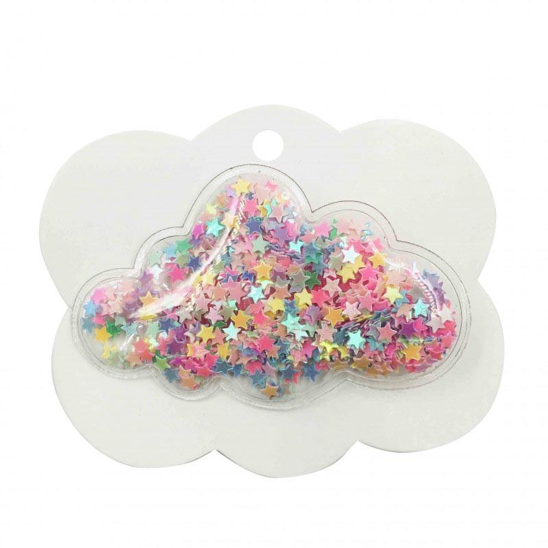 Laço Plástico Em Formato Nuvem Com Flocos Coloridos