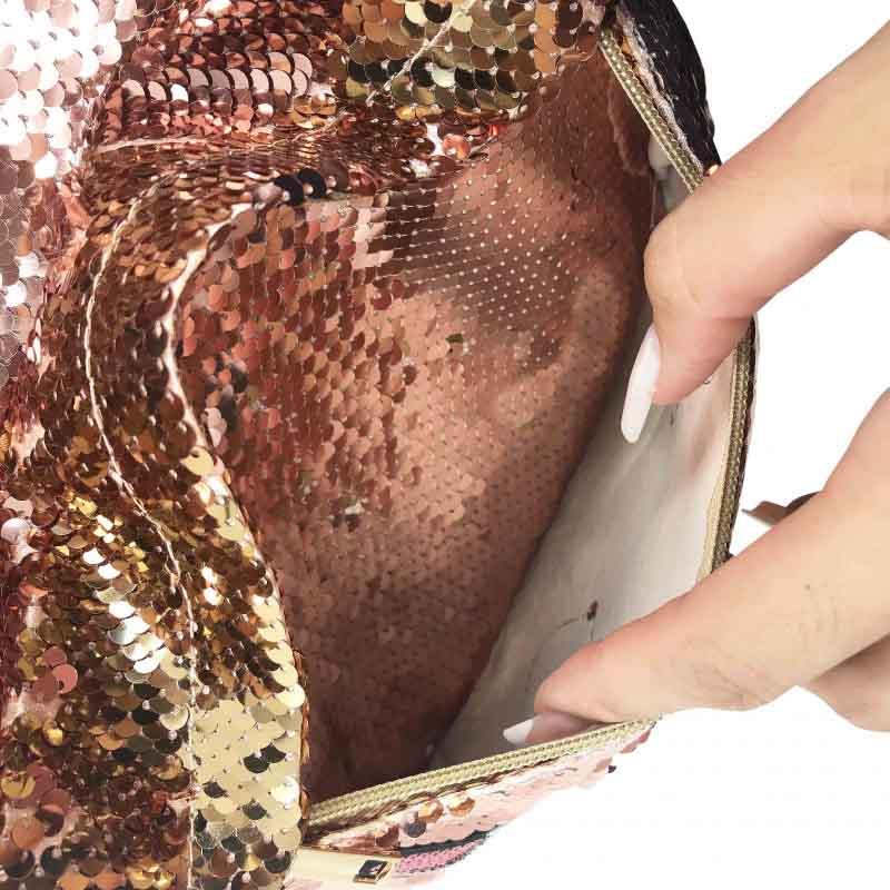 Mochila Com Aplicações Em Lantejoulas Bicolor (Nude E Dourado)