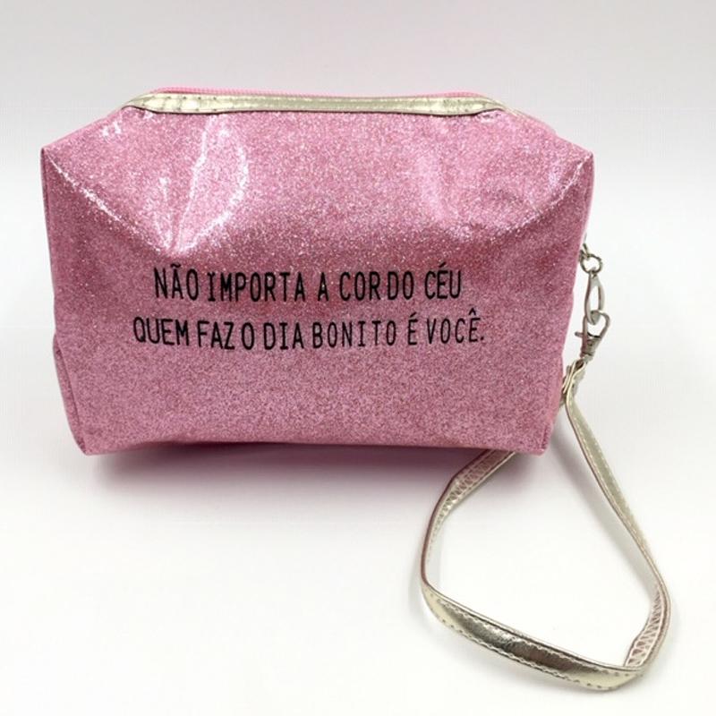 NECESSAIRE DE PLÁSTICO GROSSO COM GLITTER EM CORES DIVERSAS-Rosa claro