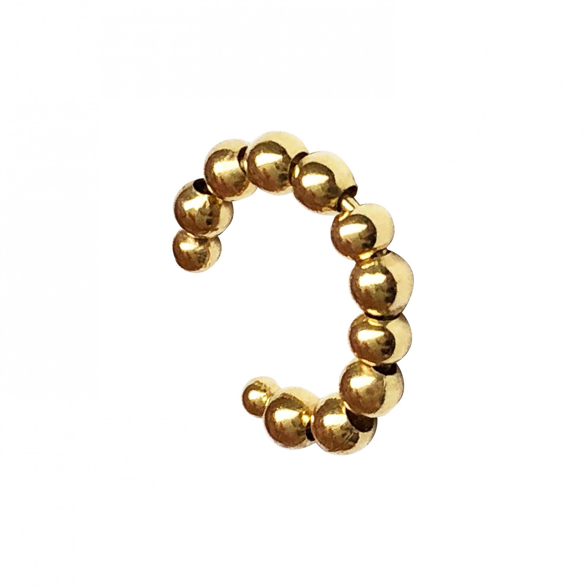 Piercing de pressão com bolinhas folheado em ouro 18k