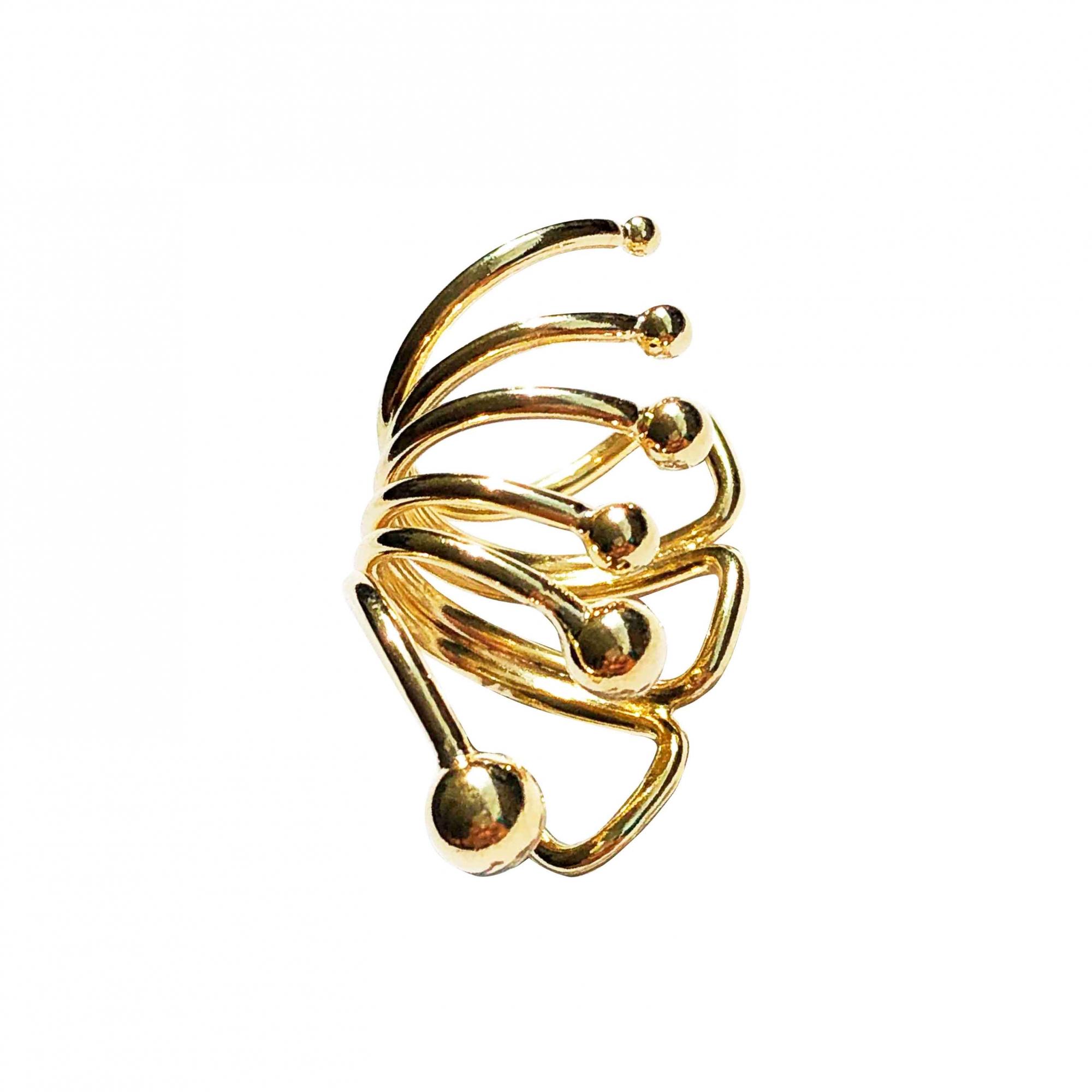 Piercing de pressão com design de argola folheado em ouro 18k