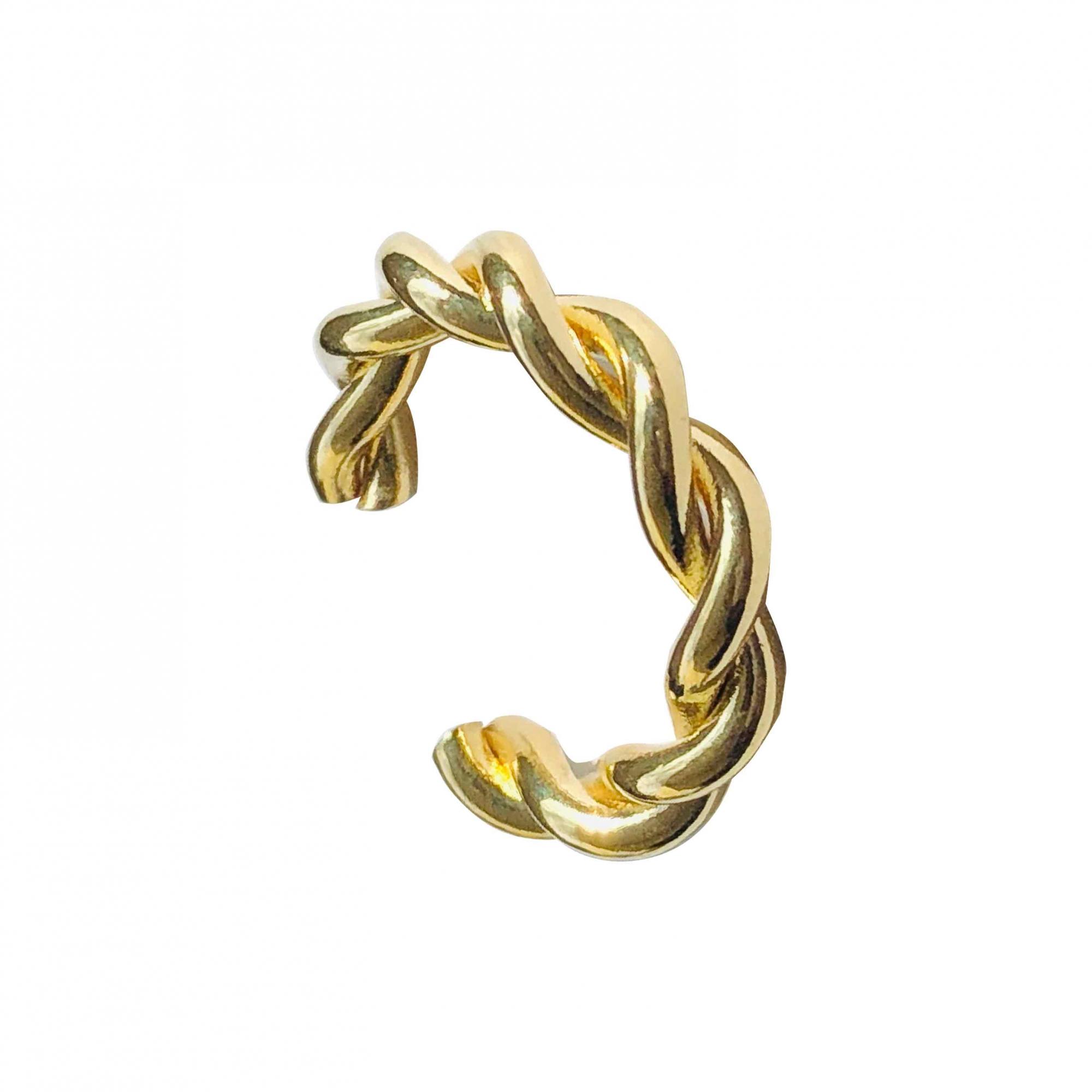 Piercing de pressão com fio torcido folheado em ouro 18k