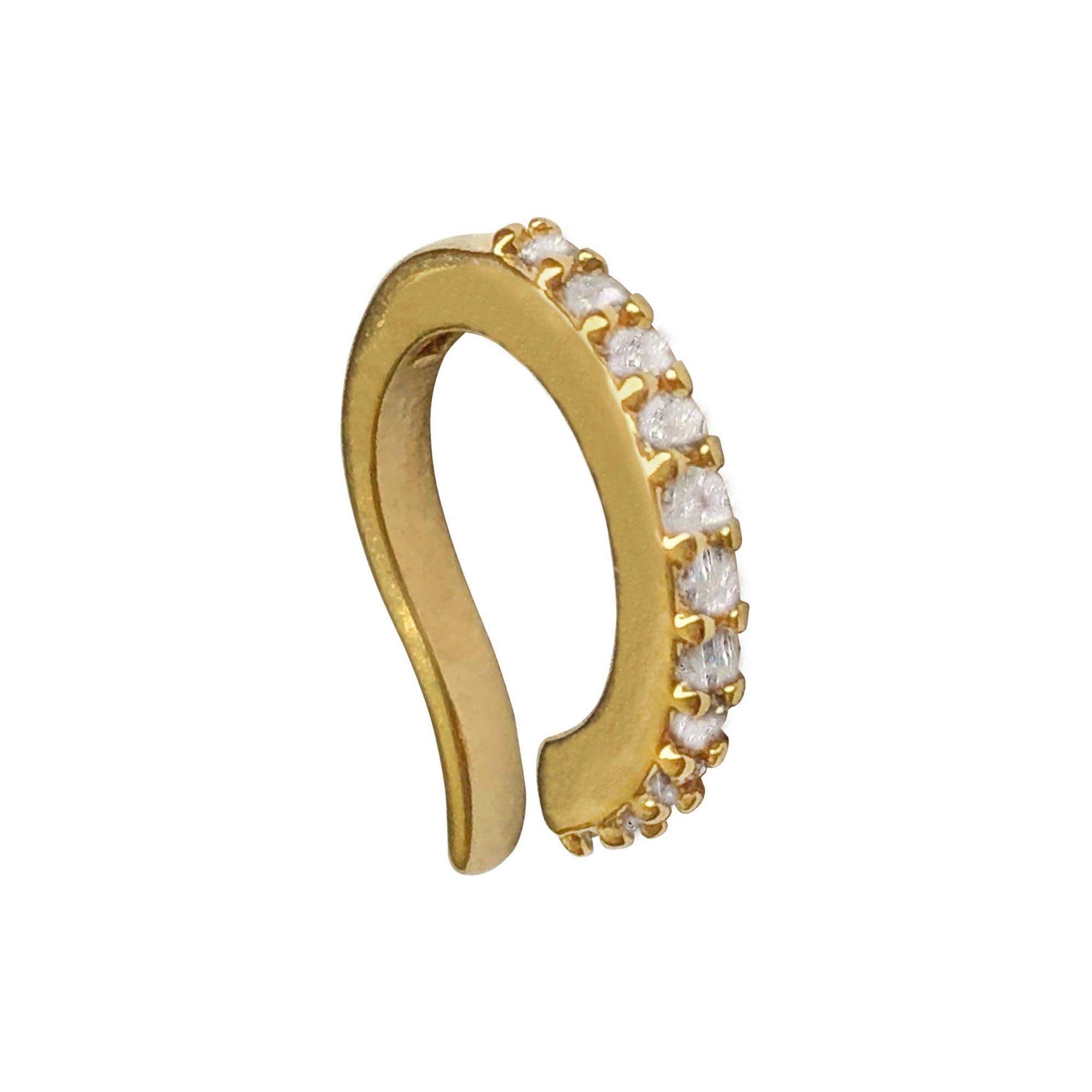 Piercing de pressão cravejado com micro zircônias folheado em ouro 18k