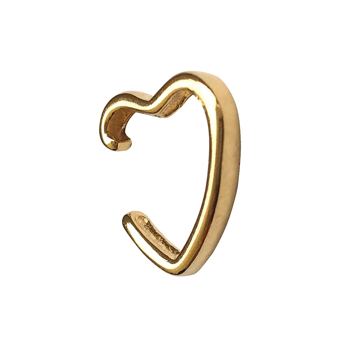 Piercing de pressão tubo liso fino formato coração folheado em ouro 18k
