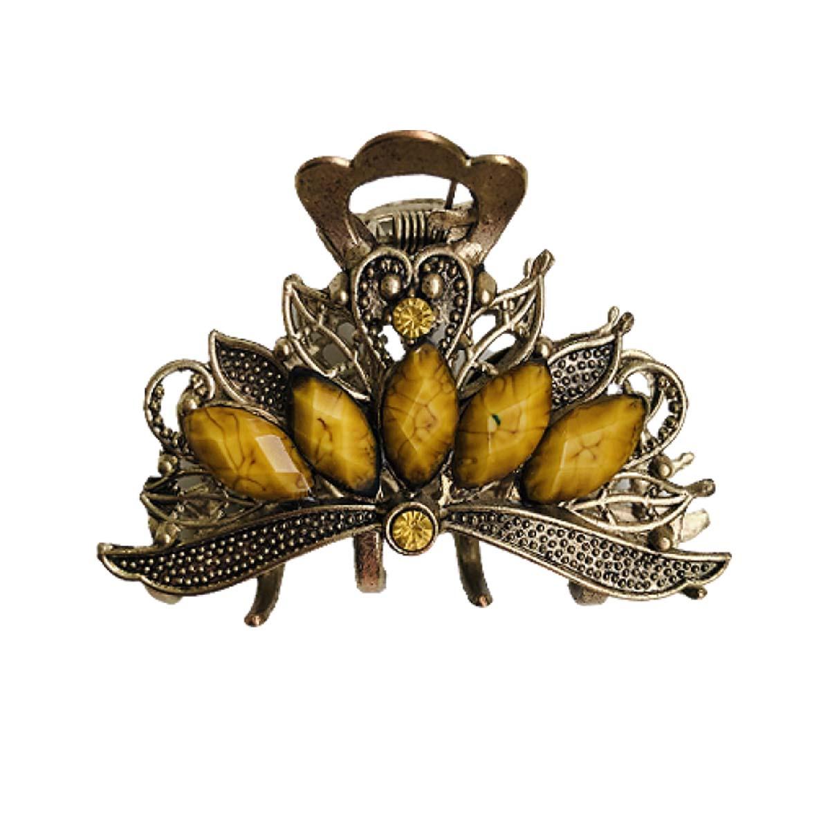 Presilha dourada com detalhes amarelo em tamanho grande