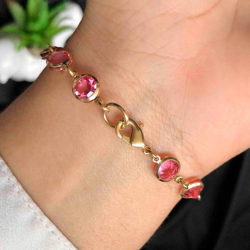Pulseira Semijoia Com Detalhes Redondos No Rosa Claro Cristal Folheada A Ouro 18k