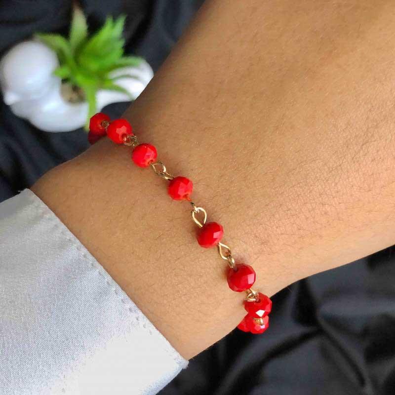 Pulseira Semijoia Com Pedras Médias Vermelhas Folheada A Ouro 18k