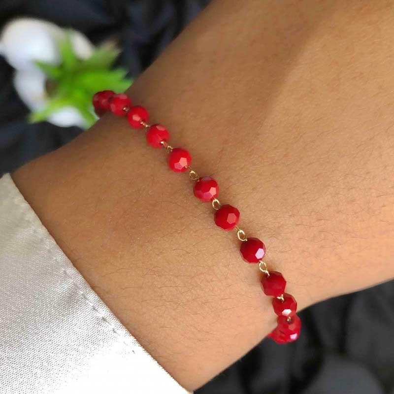 Pulseira Semijoia Com Pequenas Pedras Vermelhas Folheada A Ouro 18k
