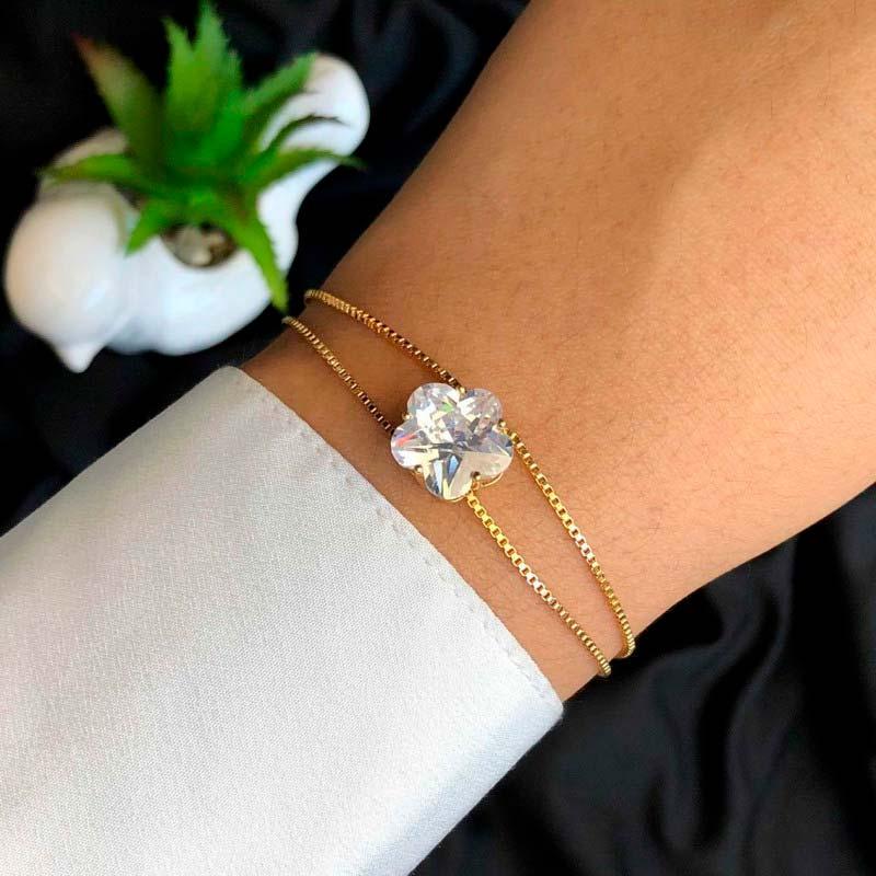 Pulseira Semijoia Pingente Flor Cristal Grande Com Extensor Folheada a Ouro 18K