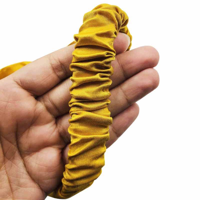 Tiara De Tecido Com Elástico E Pérolas Amarela