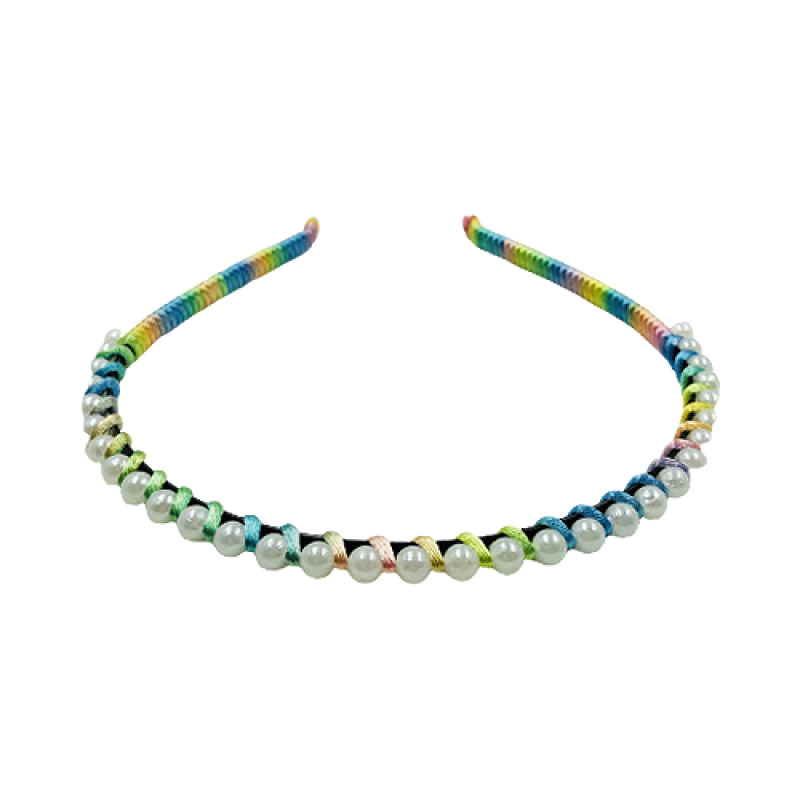 Tiara Fina Multicolorida Com Pérolas